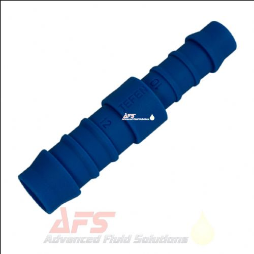 14mm x 12mm Reducing Straight Tefen Hose Joiner Connector Blue Nylon Fitting